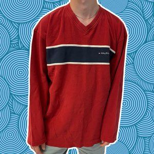 Tommy Hilfiger V-Neck Long Sleeve USA Vintage XL